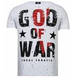 Local Fanatic God Of War Rhinestone - Man  T shirt - 13-6231W - Vit