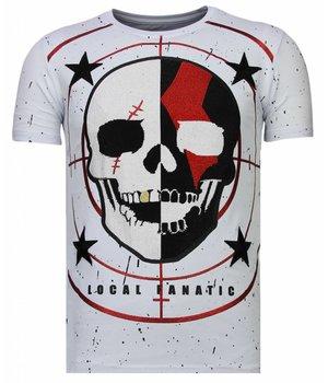 Local Fanatic God Of War - Rhinestone T-shirt - Wit