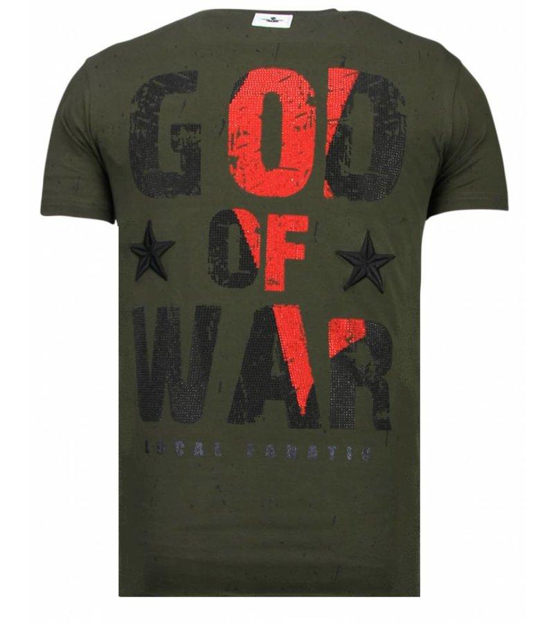 Local Fanatic God Of War Rhinestone - T shirt Herr - 13-6231K - Khaki