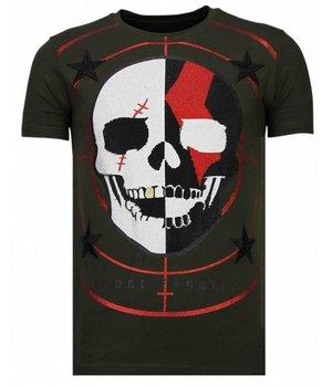 Local Fanatic God Of War - Rhinestone T-shirt - Khaki