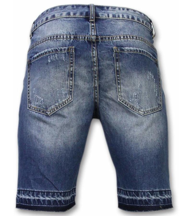 Enos Slitna shorts herr - Snygga jeansshorts herr - J-998B - Blå