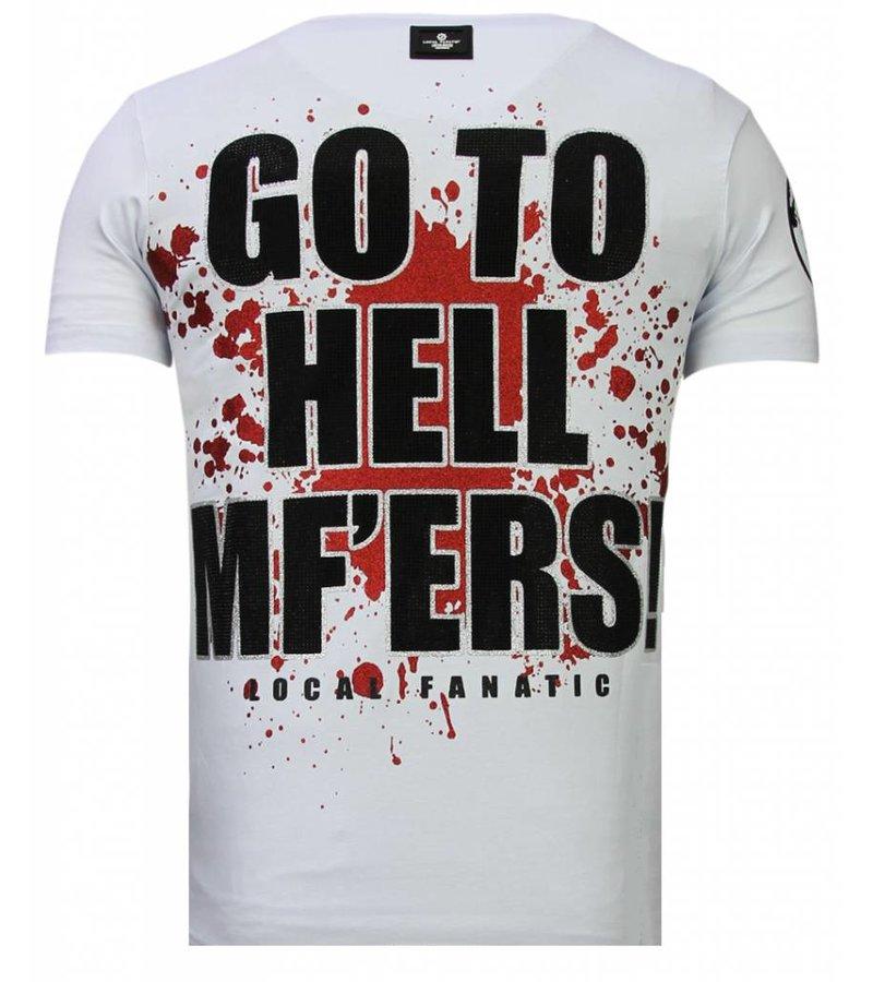 Local Fanatic Glory Martial  Rhinestone - Man T shirt - 13-6232W - Vit