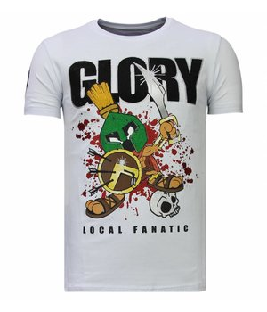 Local Fanatic Glory Martial  Rhinestone - Man T shirt - 13-6232W - Vit