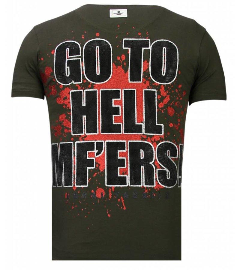 Local Fanatic Glory Martial  Rhinestone - T shirt Herr - 13-6232K - Khaki