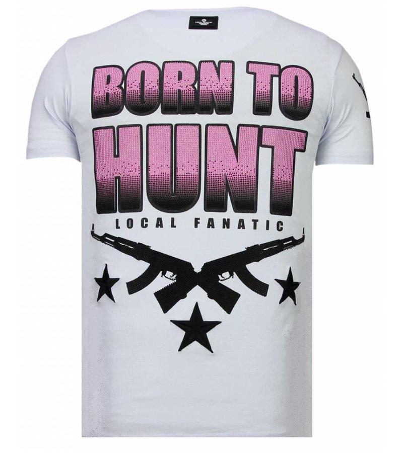 Local Fanatic Milf Hunter Rhinestone - Man T shirt - 13-6233W- Vit