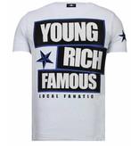Local Fanatic Young Rich Famous Rhinestone - Man T shirt - 13-6234K - Vit