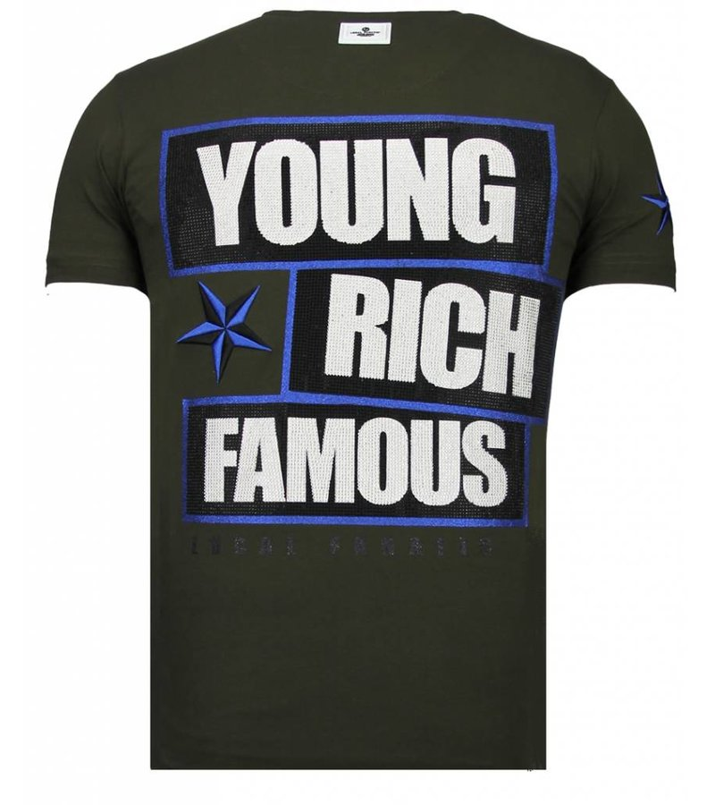 Local Fanatic Young Rich Famous Rhinestone - T shirt Herr - 13-6234K - Khaki