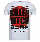 Local Fanatic Killer Bitch Rhinestone - Man T shirt - 13-6235W - Vit