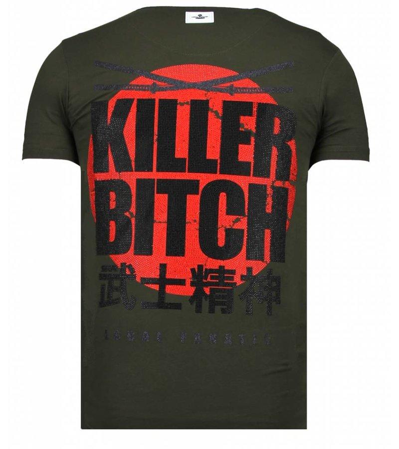 Local Fanatic Killer Bitch Rhinestone - T shirt Herr - 13-6235K - Khaki