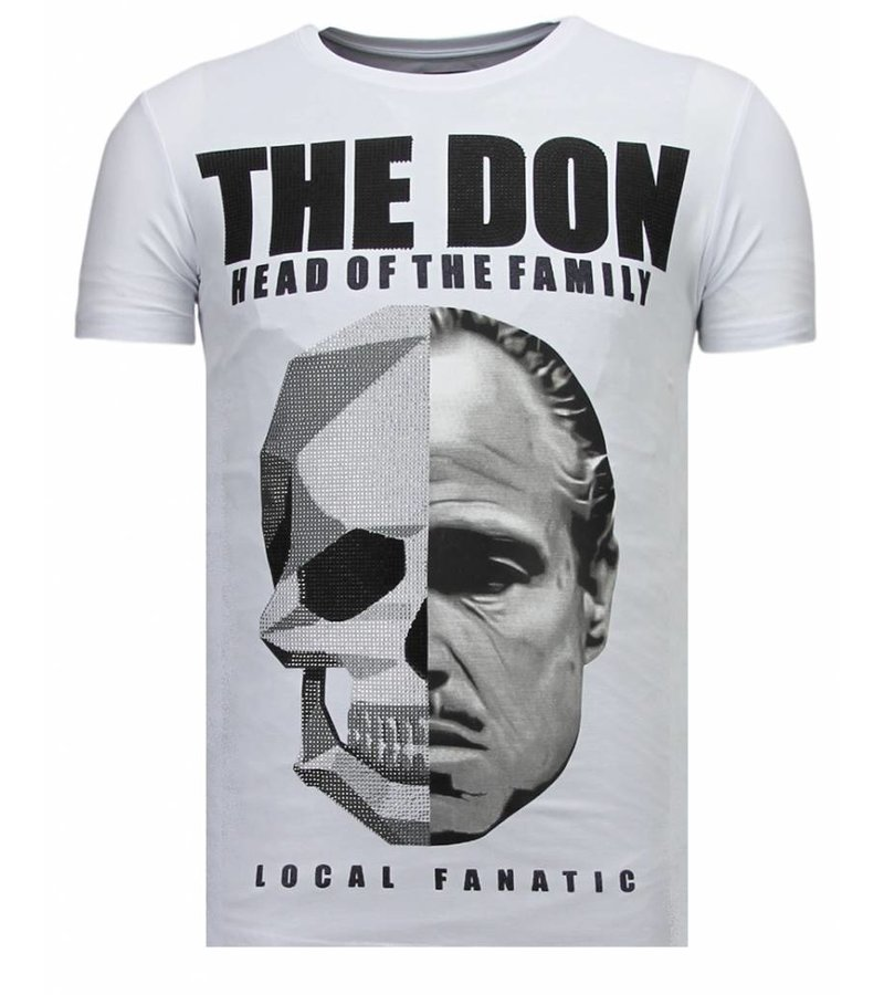 Local Fanatic The Don Skull Rhinestone - Herr T shirt - 13-6238W - Vit