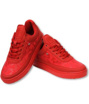Cash Money Heren Schoenen - Heren Sneaker Low Camouflage Side - Army Full Red