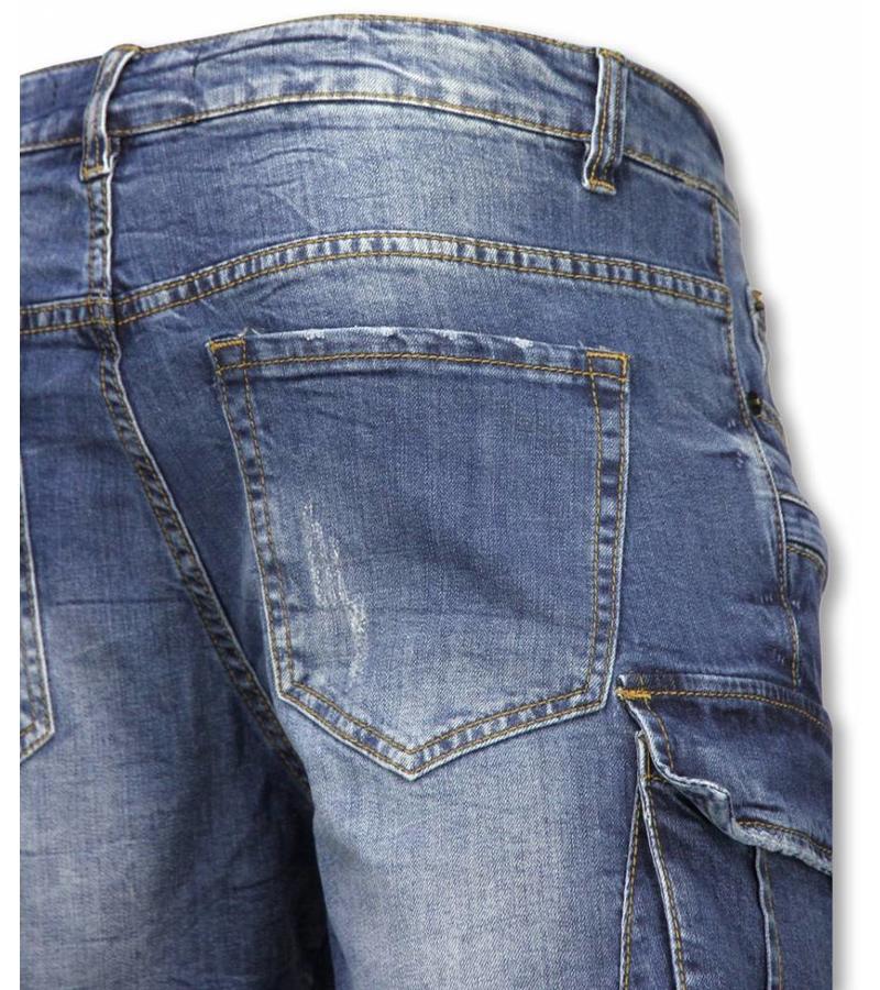 Enos Shorts med många fickor - Snygga jeansshorts herr - J-9006B - Blå