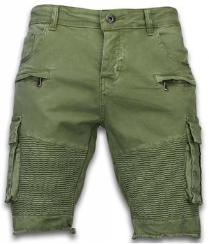 Enos Korte Broek Heren - Slim Fit Biker Pocket Jeans - Groen