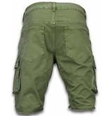 Enos Korte Broek Heren - Slim Fit Biker Pocket Jeans - Groen