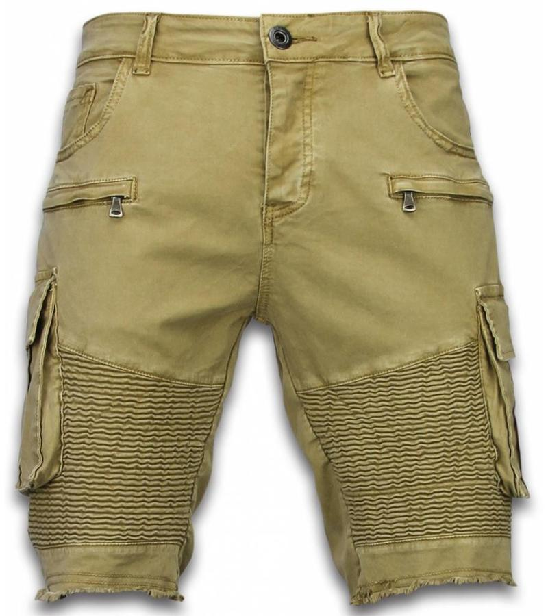 Enos Korte Broek Heren - Slim Fit Biker Pocket Jeans - Beige