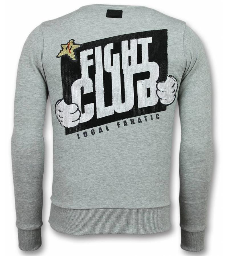 Local Fanatic Mario Fight Club Sweater - Tröjor Män - 11-6298G - Grå