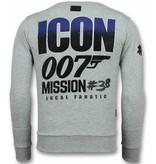 Local Fanatic James Bond 007 Sweater - Herr Tröja - 11-6305G - Grå