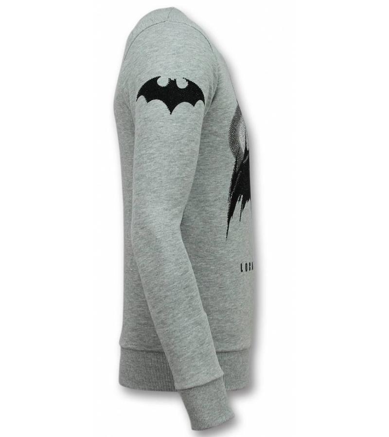 Local Fanatic Rhinestone Batman Tröja - Herr Sweater - 11-6295G - Grå