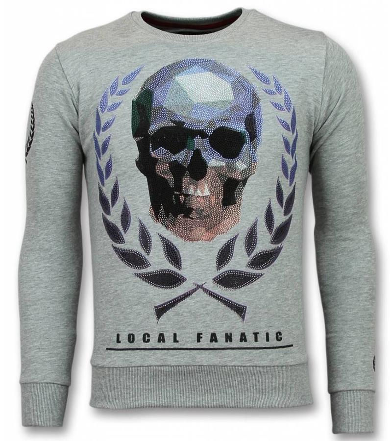 Local Fanatic Skalle Keps Rhinestone Sweater - Tröjor Män - 11-6293G - Grå