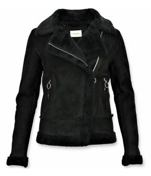 Z-design Bikerjack Dames - Lammy Coat Dames - Suede Jas - Zwart