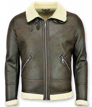 Warren Webber Lammy Coat Heren - Imitatie Bontjas - Fake Fur jas - Bruin