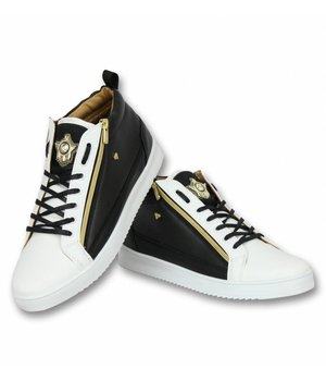 Cash Money Heren Schoenen - Heren Sneaker Bee Black White Gold - CMS97 -  Zwart/Wit