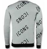 UNIMAN Trycktröja ICONS Sweater Men - Herr Tröja - UY-294G - Grå