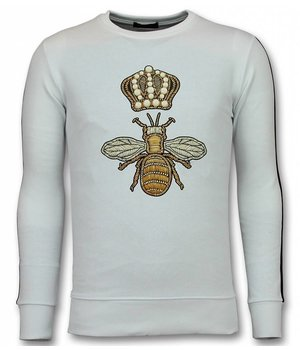 UNIMAN Flock Print Trui - Royal Bee Sweater Heren - Wit