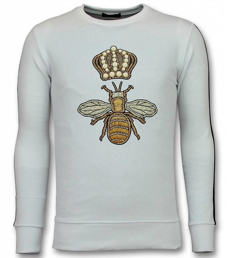 UNIMAN Flock Print Trui - Royal Bee Sweater Heren - Wit