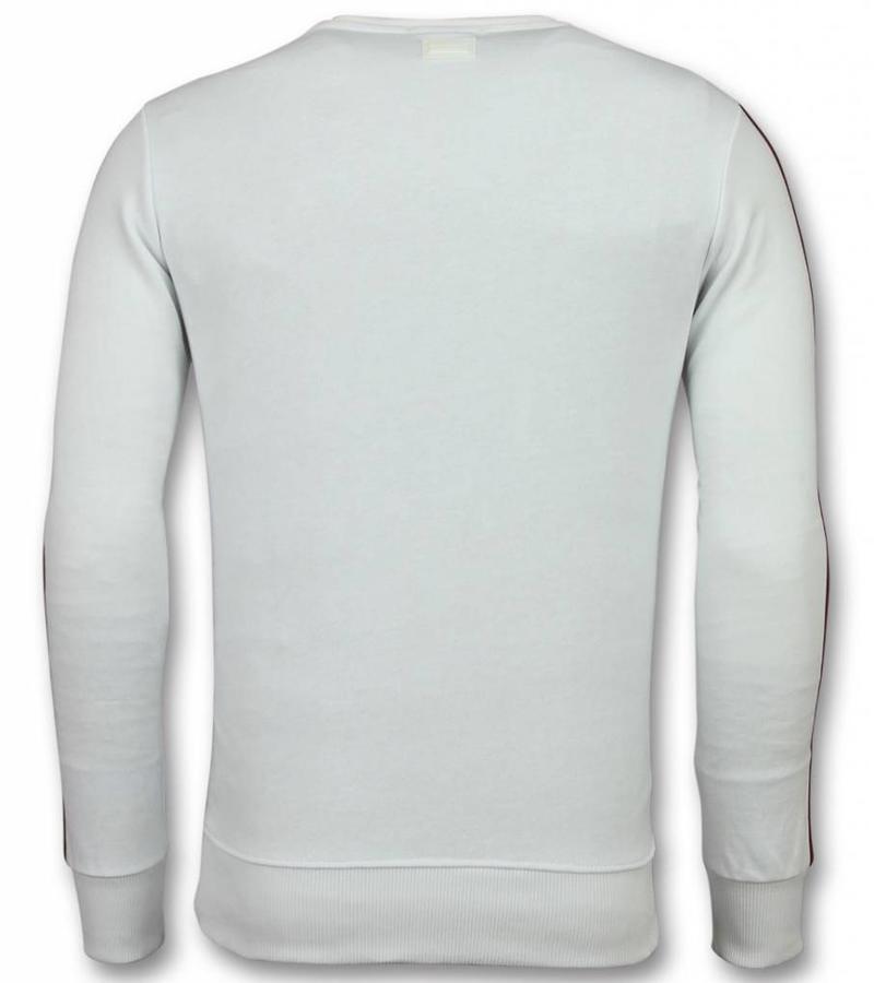UNIMAN Flock Print Tröja Royal Bee - Sweatshirt Herr - SW-3W - Vit