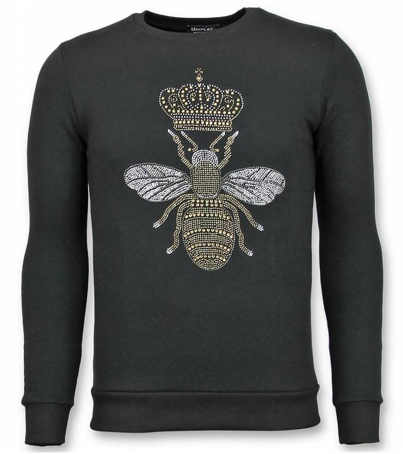 UNIMAN Rhinestone Trui - Master Bee Sweater Heren - Zwart