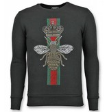 UNIMAN Rhinestone Trui - Master Royal Color Bee Sweater Heren - Zwart