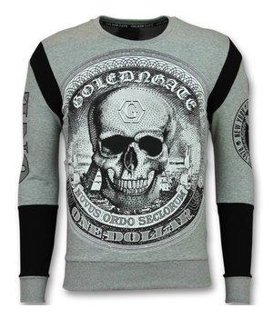 Golden Gate Skull Dollar Sweater - Rhinestone herrtröja - F-588G - Grå