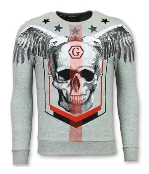 Golden Gate Rhinestone Mannen Trui - Doodskop Crewneck- Ster Skull Sweater  - Grijs