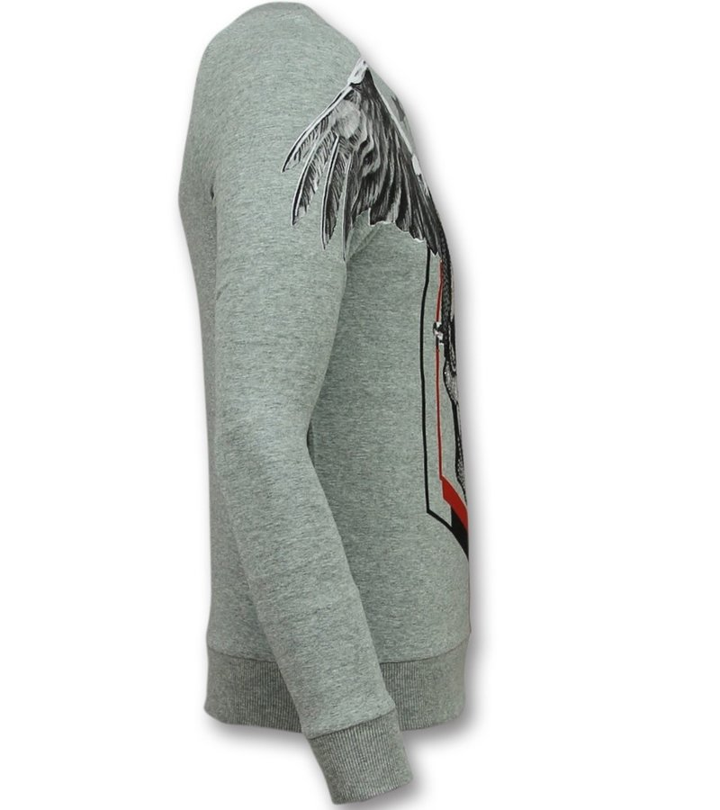 Golden Gate Rhinestone Skull Head Sweater - Herr Tröja - F-586G - Grå