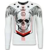 Golden Gate Rhinestone Skull Head Sweater - Män Tröjor - F-586W - Vit