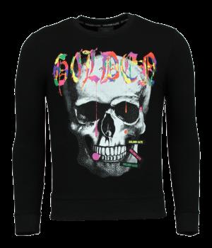 Golden Gate Skull Head Herrtröja - Tryck På Tröja - F-590Z - Svart
