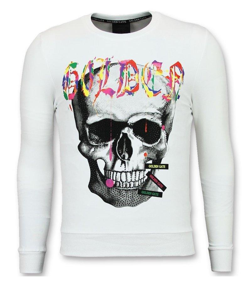 Golden Gate Skull Head Herrtröja - Sweater Herr - F-590W - Vit