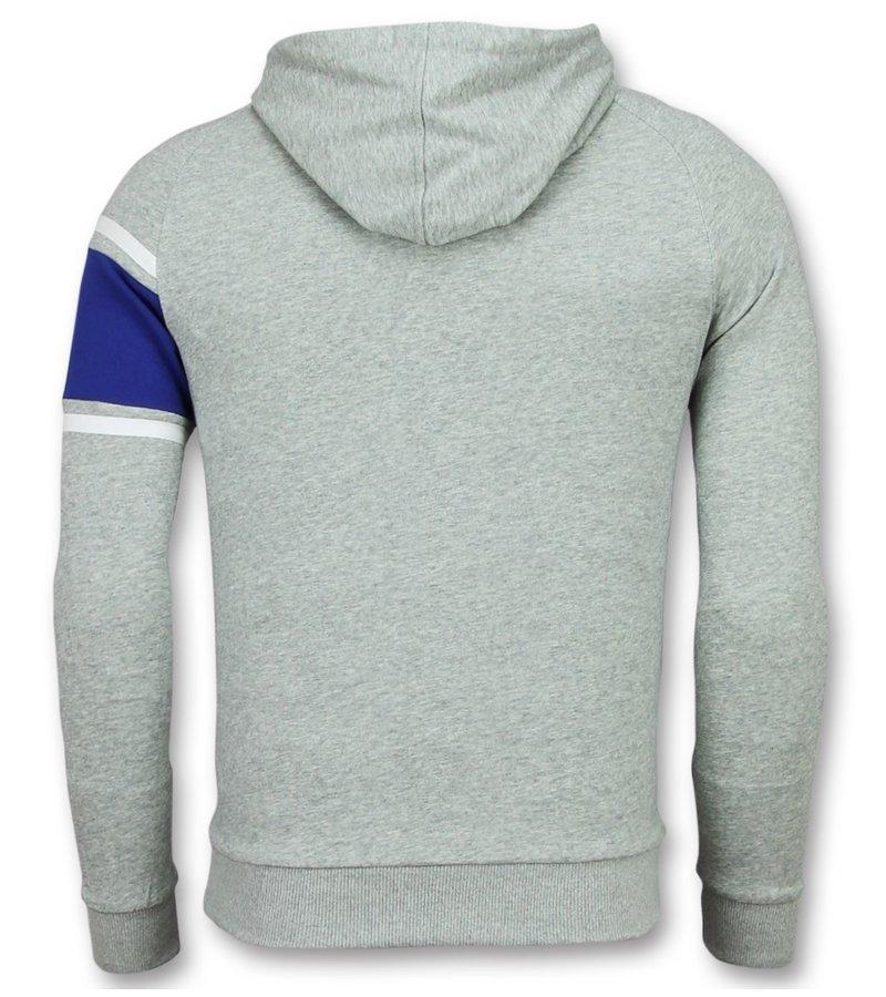 Enos Grå Hoodtröja - Sweatshirt Herr - F-7516 - Grå / Blå