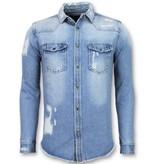 Enos Ljus jeanss kjorta herr - Jeanss kjorta slim fit - J-988B - Blå