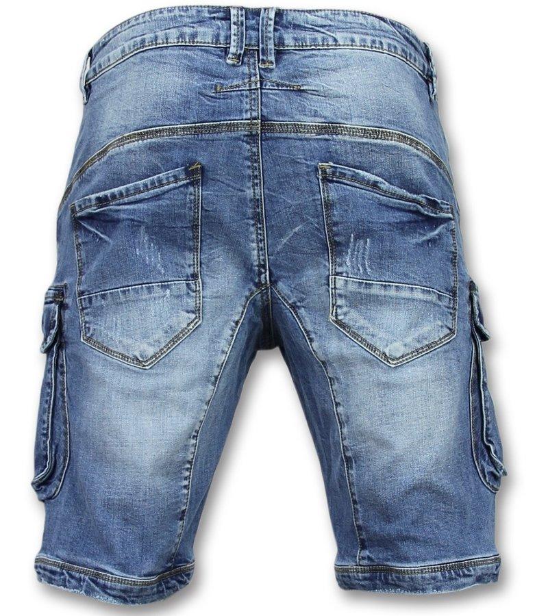 Enos Korta Jeansshorts Herr - Halvlånga Shorts Man - J981 - Blå