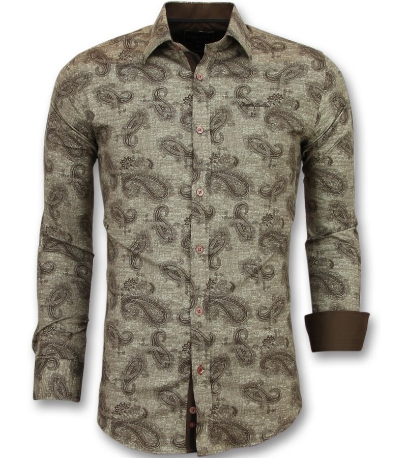 Gentile Bellini Skjorta ståkrage - Mönstrad skjorta till kostym - 3001 - Brun