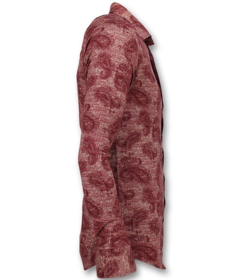 Gentile Bellini Skjorta slim fit - Herrs kjorta med ståkrage - 3003 - Röd