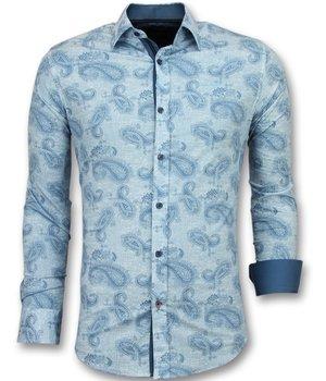Gentile Bellini Italienska skjortor online - Mönstrad skjorta till kostym - 3004 - Turkos