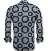 Gentile Bellini Herr skjorta slim fit - Skjorta mönstrad - 3011 - Blå