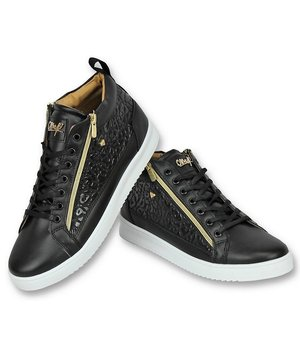 Cash Money Märkesskor Online - Herr Sneakers Croc Black Gold - CMS98 - Svart