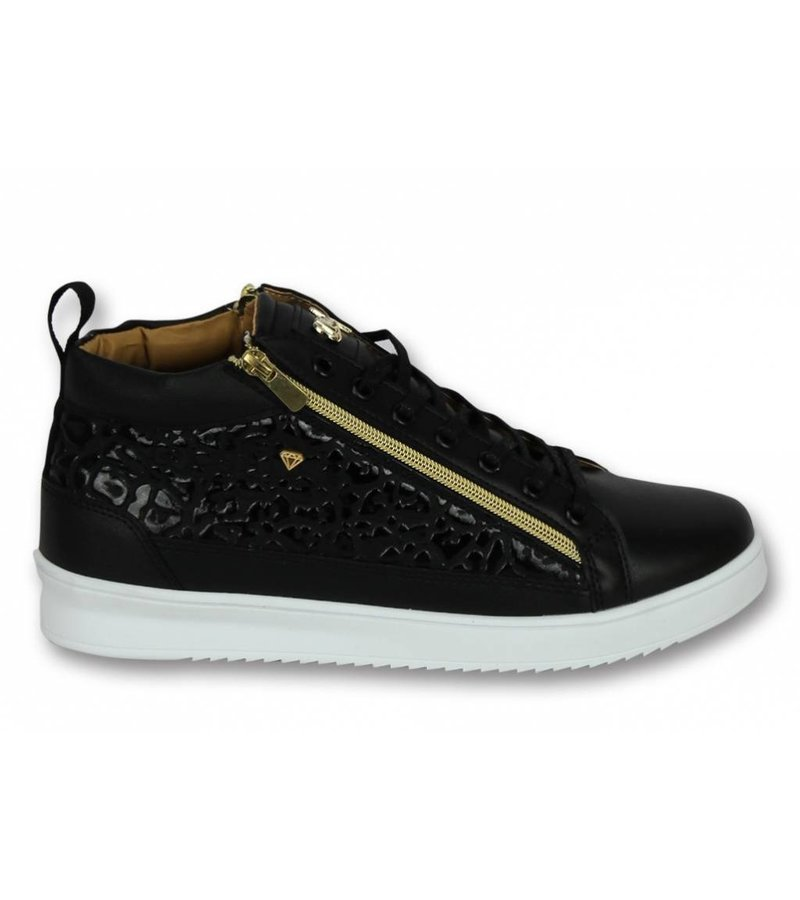 Cash Money Märkesskor Online - Herr Sneakers Croc Black Gold - CMS98 - Svart