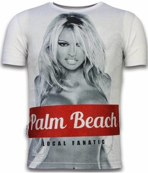 Local Fanatic Palm Beach Pamela Rhinestone - Herr t shirt - 11-6280W - Vit