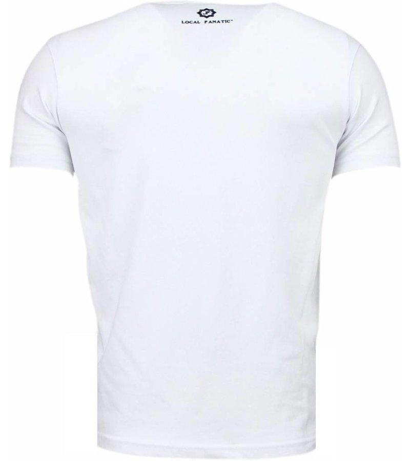 Local Fanatic Palm Beach Pamela Rhinestone - Herr t shirt - 11-6280W - Vit