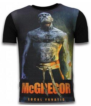 Local Fanatic McGregor Fire Arm - Digital Rhinestone T-shirt - Zwart
